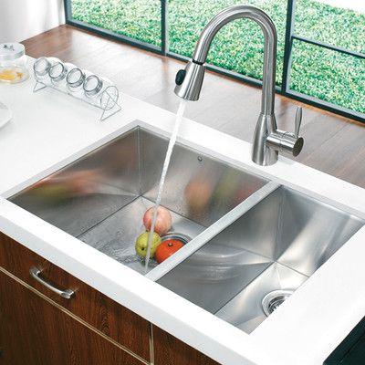Vigo 80/20 Double Bowl Zero Radius Stainless Steel Undermount Kitchen Sink   AllModern