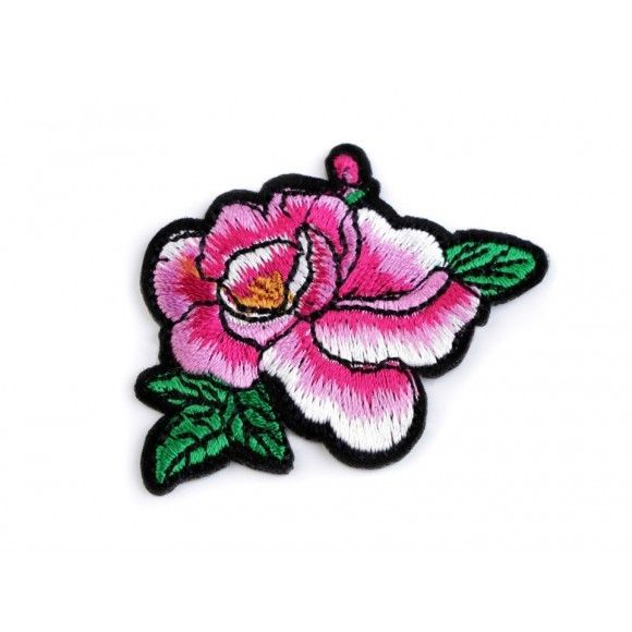 Aufbügler gestickt Rose