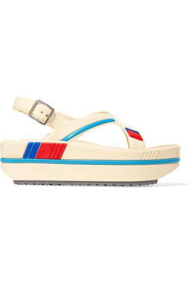 Prada - Striped Rubber Platform Sandals - Neutral - IT37