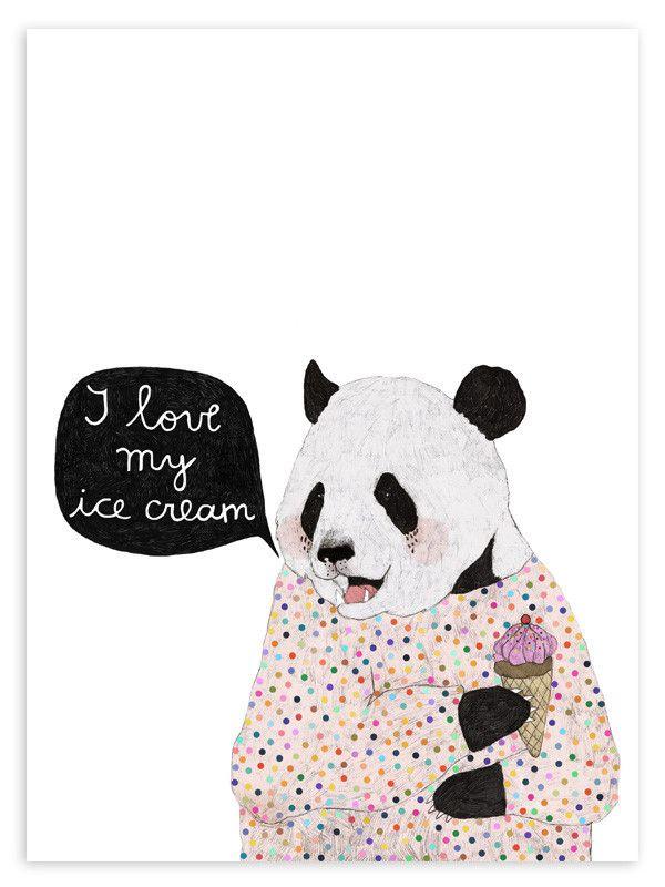 Ice Cream Panda Print