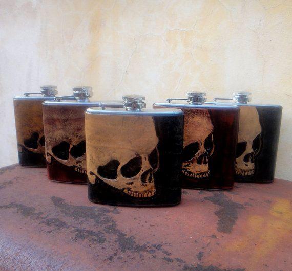 Groomsmen Gift Flasks by GodspeedLeatherwerks on Etsy