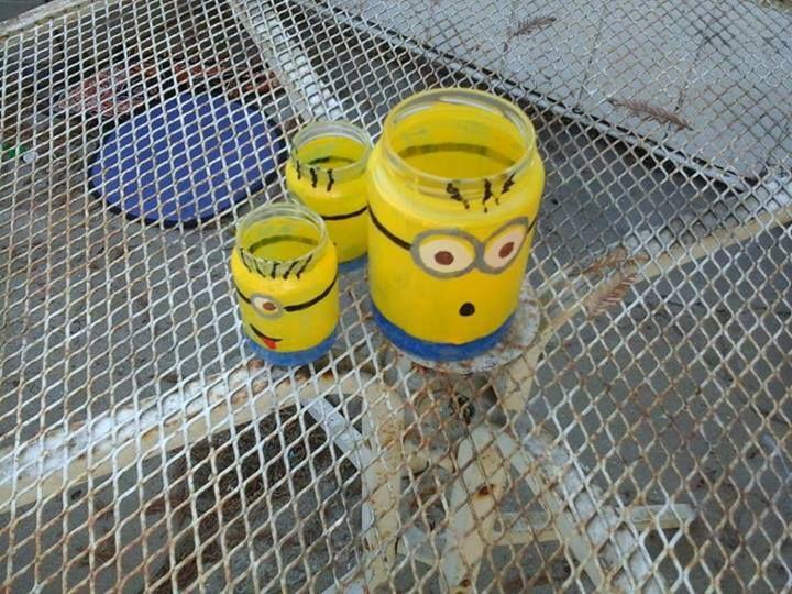 Upcycle pickle jar, baby food jar, minion, tea candle