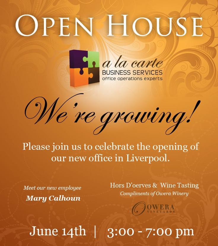 A La Carte Business Services OPEN HOUSE Announcement Open HouseAnnouncement ReceptionsWedding