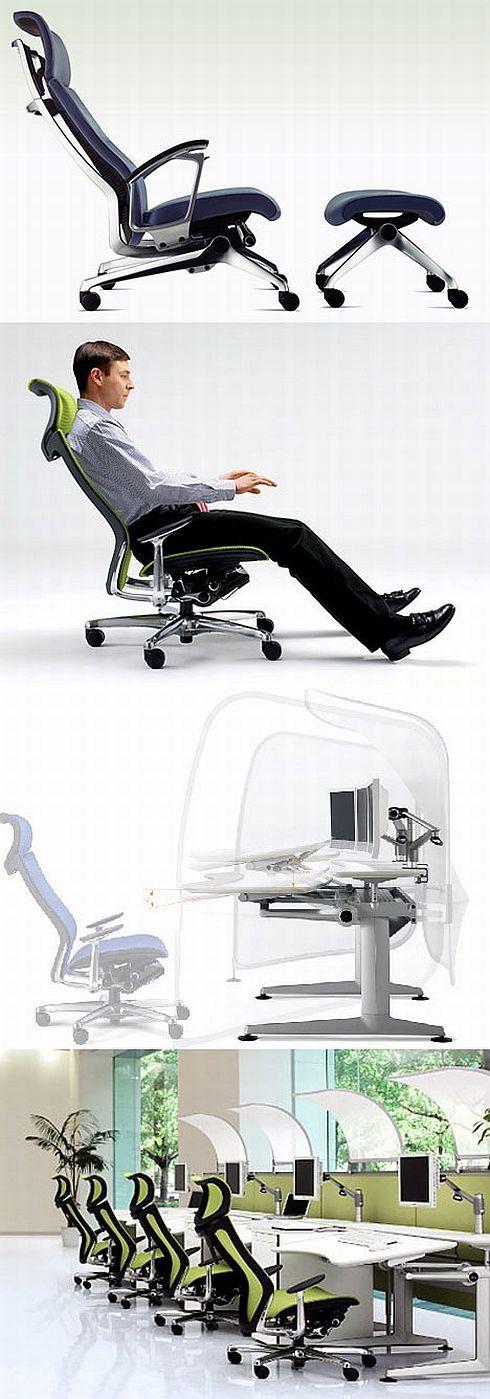 Cadeiras ergonômicas e protetor solar para mesas.