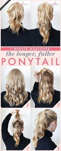 Ponytail upgrade: the double ponytail that gives the illusion of longer, fuller hair. I'm going to have to try this!