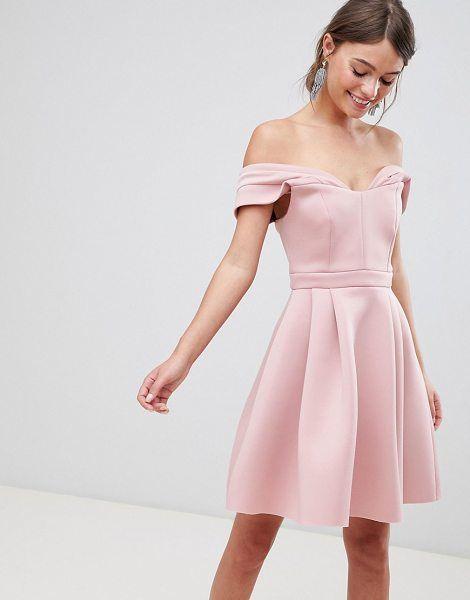 asos design bardot cold shoulder mini prom dress pink