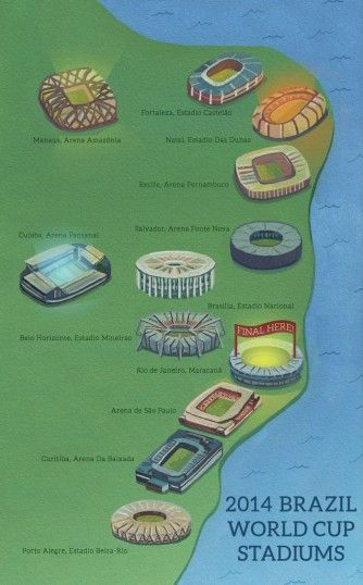 Brazil World Cup 2014 map by Haydn Symons