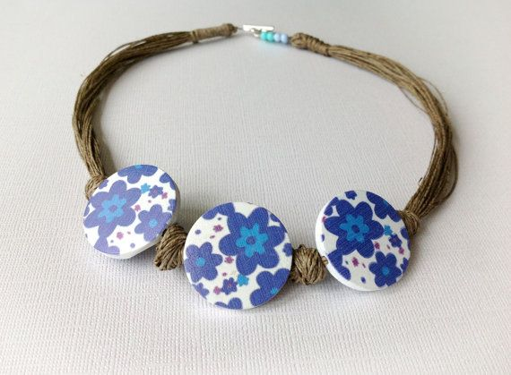 Blue Flowers Natural Linen Necklace Wooden by BeadedCoffeeTree, $22.44