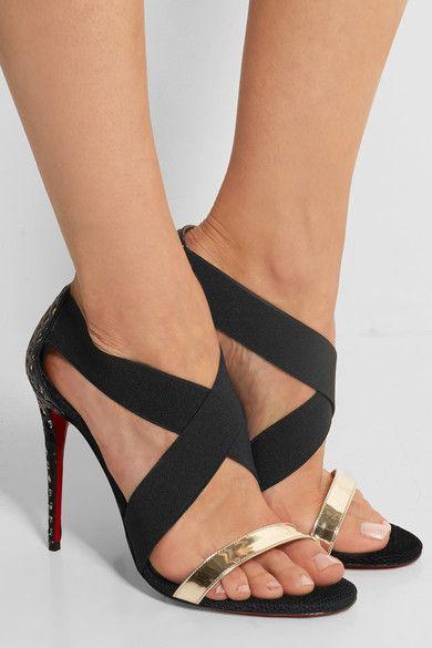 christian loui vuitton shoes - CHRISTIAN LOUBOUTIN Elastagram metallic leather and elastic ...