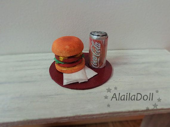 Miniature cheesburger and coca cola.  Size: Tray is about 4 cm (1.6 inch) circumference. Height of the can is 2,3 cm (0.9 inch)