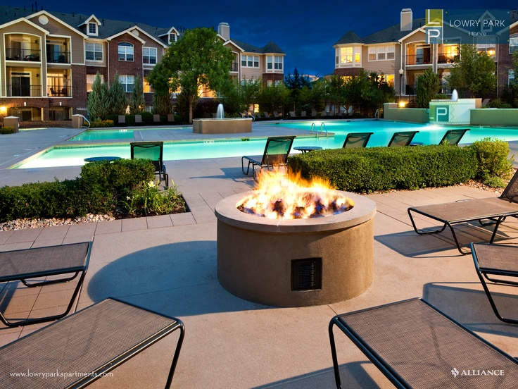 Swimming Pools In Denver : Poolside fire pit at lowry park apartments in denver co