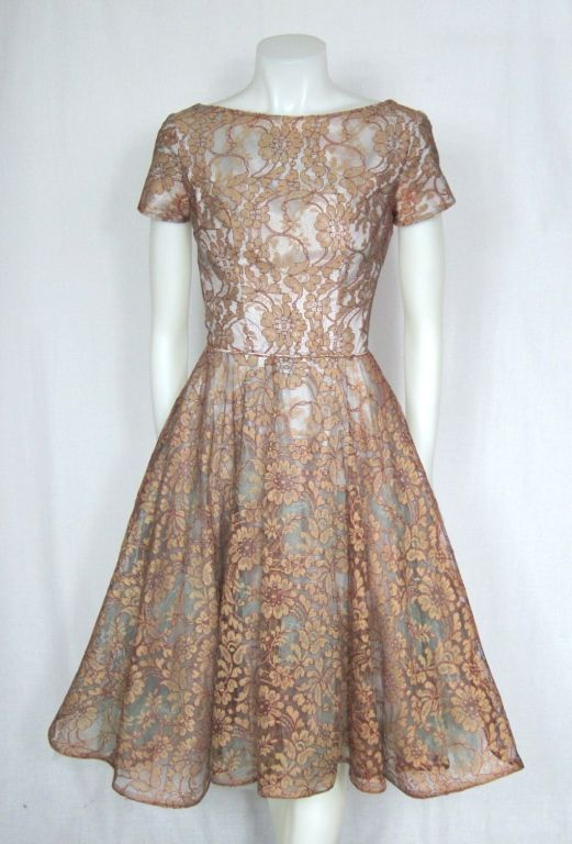 VINTAGE 1950s Blue & Bronze Illusion Lace Party Dress