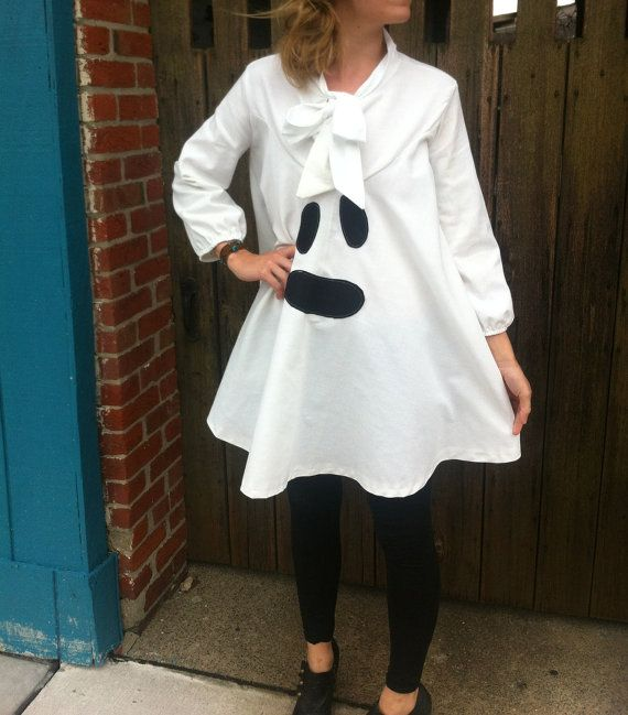 Cute and Conservative Halloween Costume; Handmade Ghost Tunic Dress Halloween Costume by TheDandyLionShop, $78.00