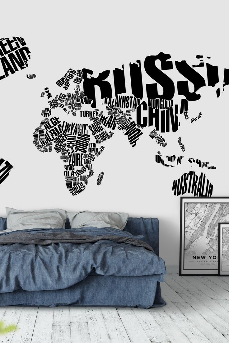 59 best map wall murals images on pinterest white typographical world map wall mural gumiabroncs Choice Image