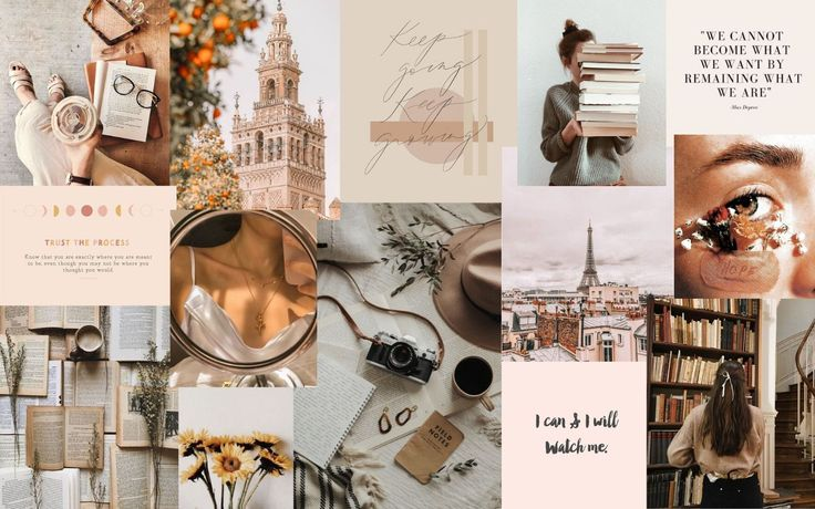 🌟 contact me if you want other sizes that are not included in this pack (free of charge. neutral collage | Vintage desktop wallpapers, Desktop