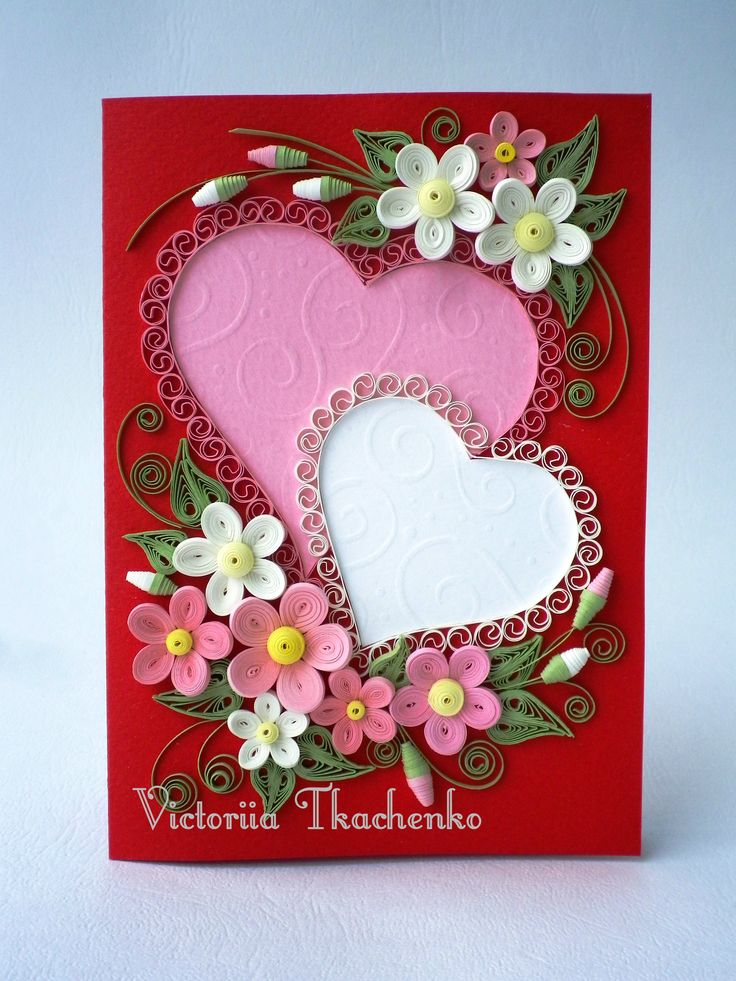 Valentine Quilling Card - Valentine's Day quilling Card - Anniversary quilling Card - Love quilling card - Rose white Hearts