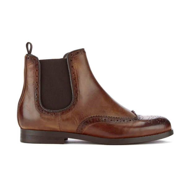 H Shoes by Hudson Women's Asta Leather Brogue Chelsea Boots - Cognac: Image 11