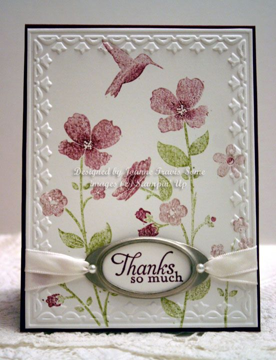 """By Joanne. """"Framed Tulips"""" embossing folder by Stampin' Up/Sizzix. Flowers stamp is """"Wildflower Meadow"""" by Stampin' Up."""