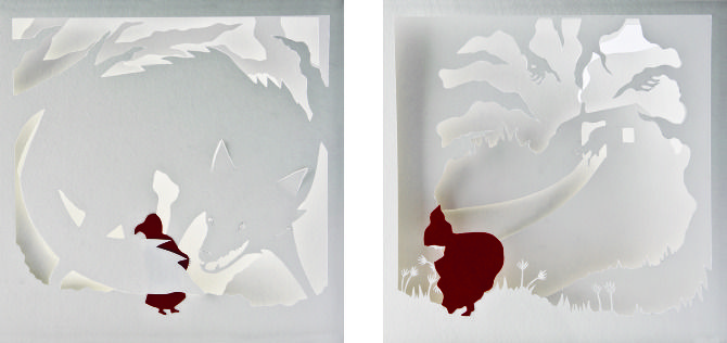 Red Riding Hood - emi hazlett  A book of papercuts to illustrate the story.