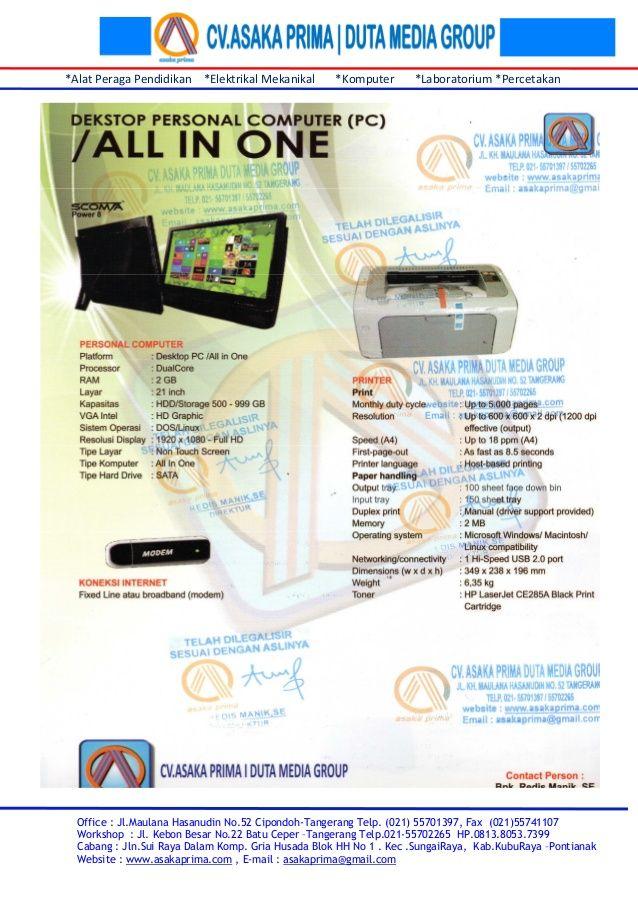 Rincian & brosur pc komputer bk kb n 2015