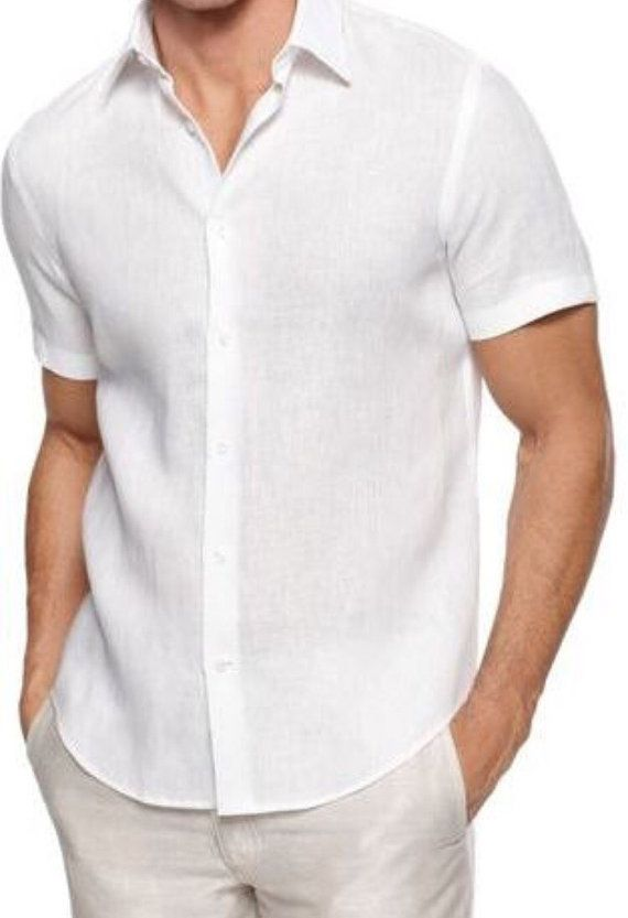 Man white linen shirt short sleeve beach wedding groom for Men s wedding dress shirts