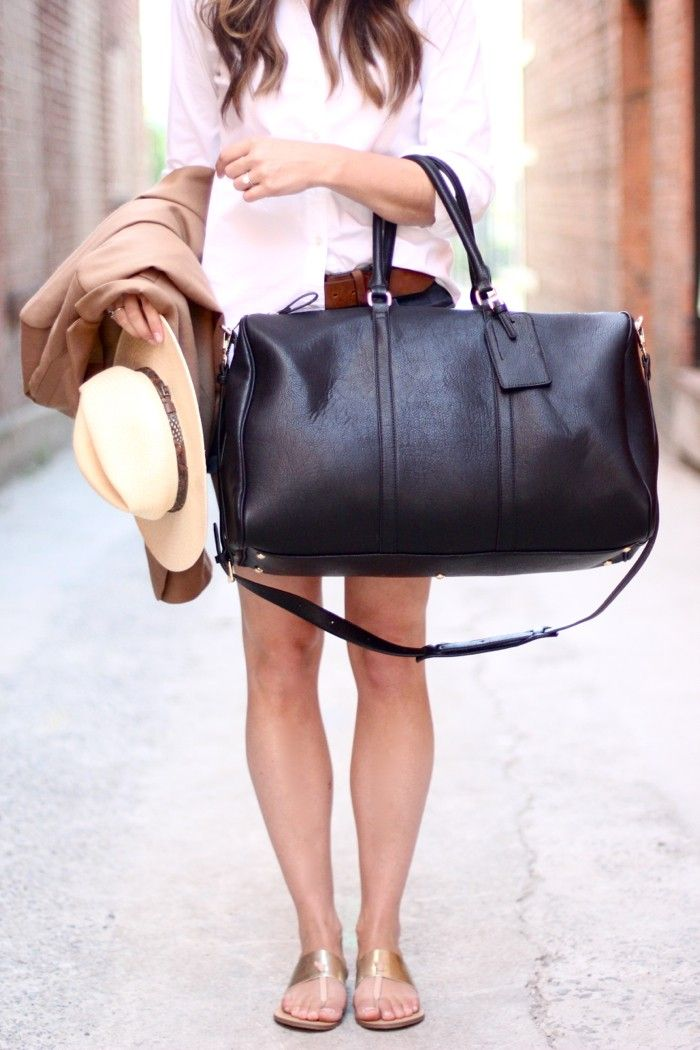 Black vegan leather weekender bag