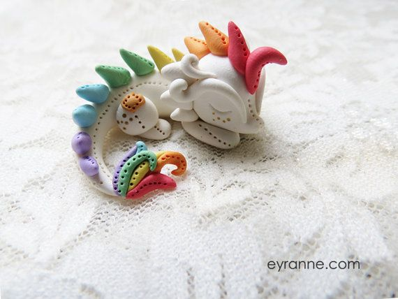 Cute Dragon Figurine / Pastel Rainbow Dragon by PlushlikeCreatures