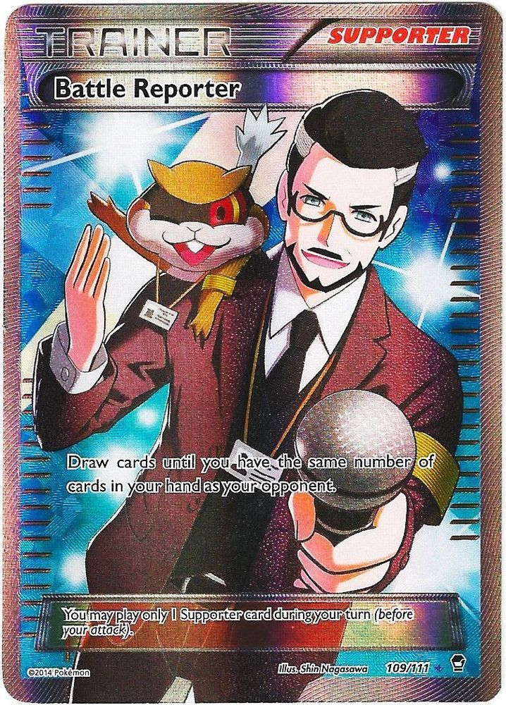Battle Reporter 109/111 - FULL ART Pokemon XY Furious Fists TRAINER Card #Pokemon