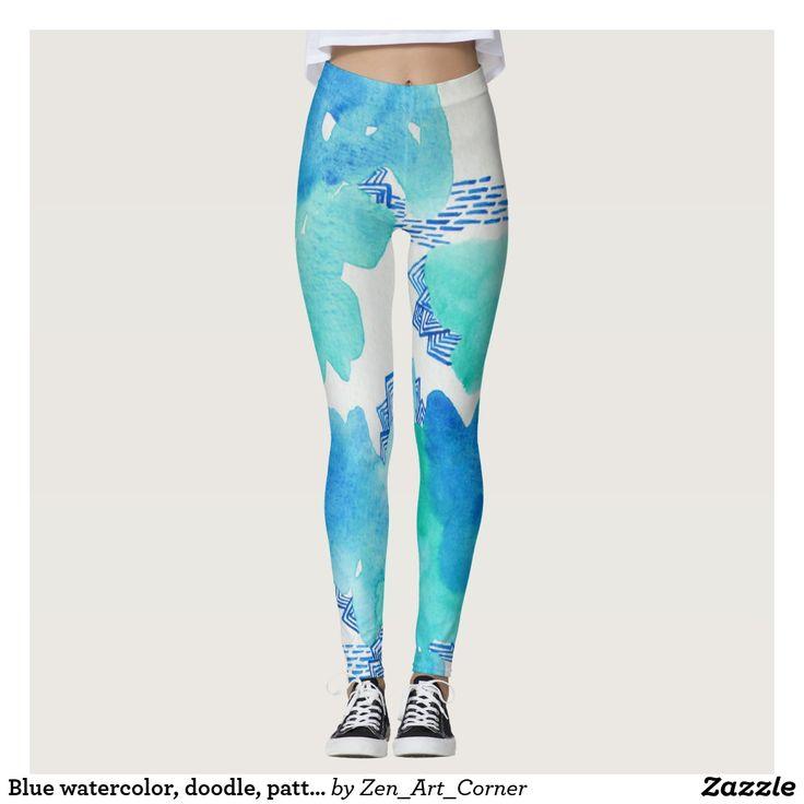 Blue watercolor, doodle, pattern leggings