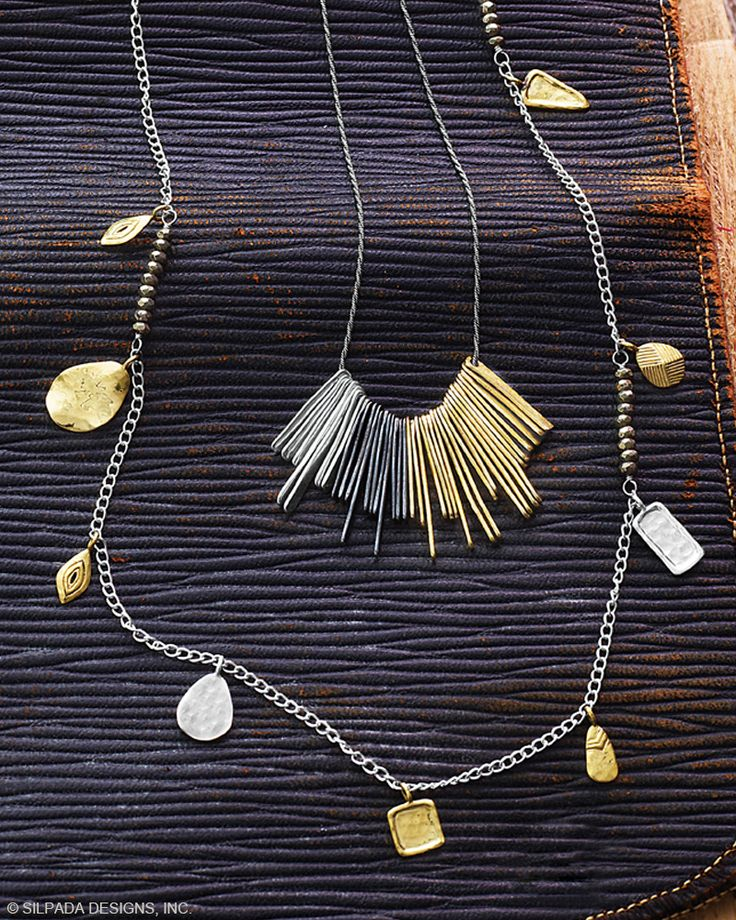 """Let's Hang Out Necklace   Jewelry by Silpada Designs Sleek streaks of Brass and Sterling Silver rendezvous in the middle of the ornate Let's Hang Out Necklace. Dress up a denim shirt with this modern, mixed-metal piece. 18"""" length.  $99"""