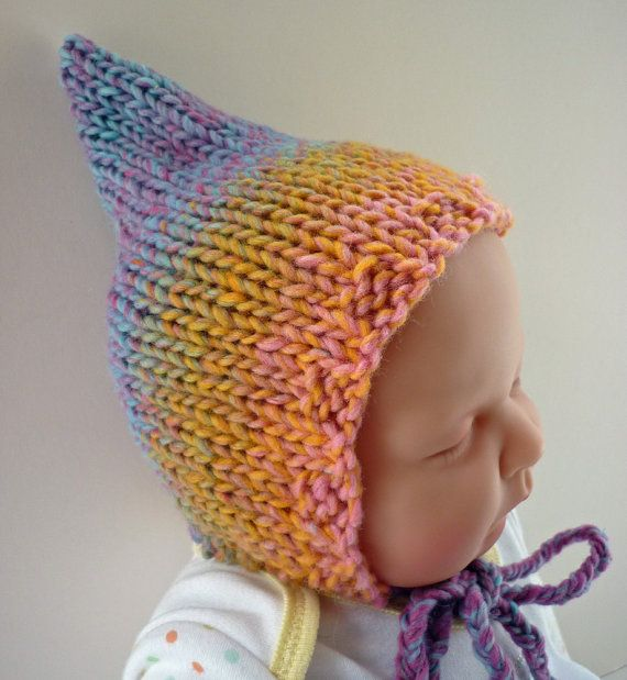 Knitting Pattern Baby Pixie Hat  RAINBOW Instant by LoveFibres, $3.00