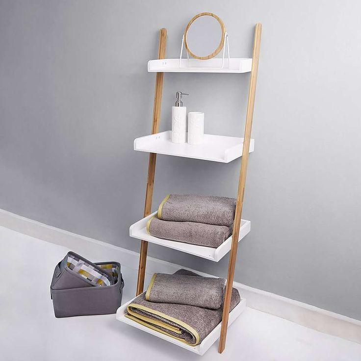 Elements White Ladder Shelves Unit Kitchen White