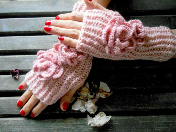 Women's Knit Gloves Crochet Gloves Pink Knitted by MimosaKnitting