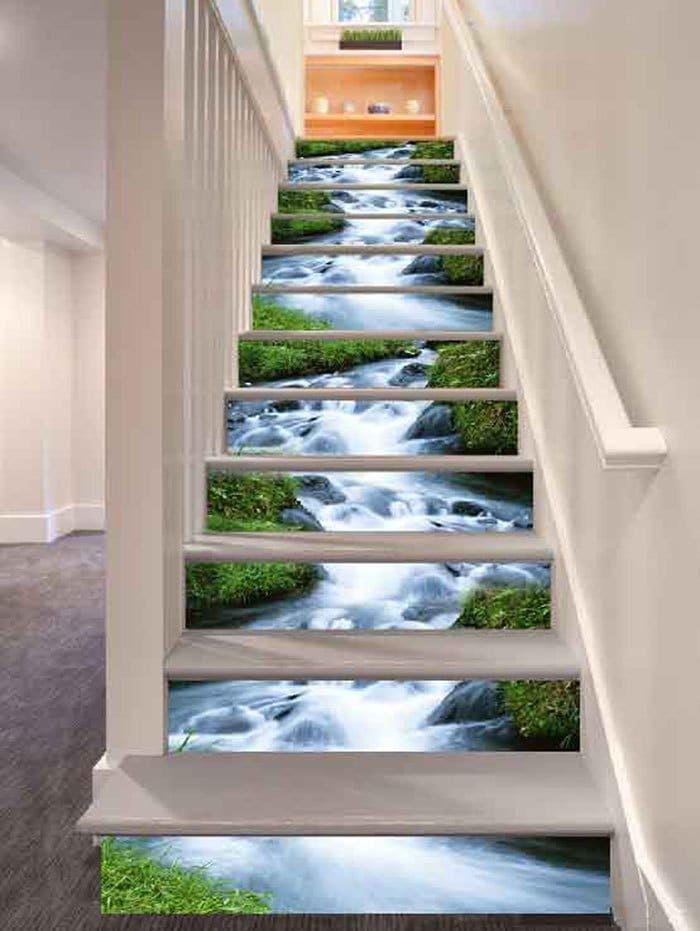 Kia Trois Rivières >> Stream Landscape Print Diy Decorative Stair Stickers Colormix 100
