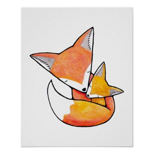 Sweet poster of a mommy with baby fox.  Available framed or unframed in several sizes.  Artwork makes a cute addition to baby's room or a decoration for a woodland animals baby shower.
