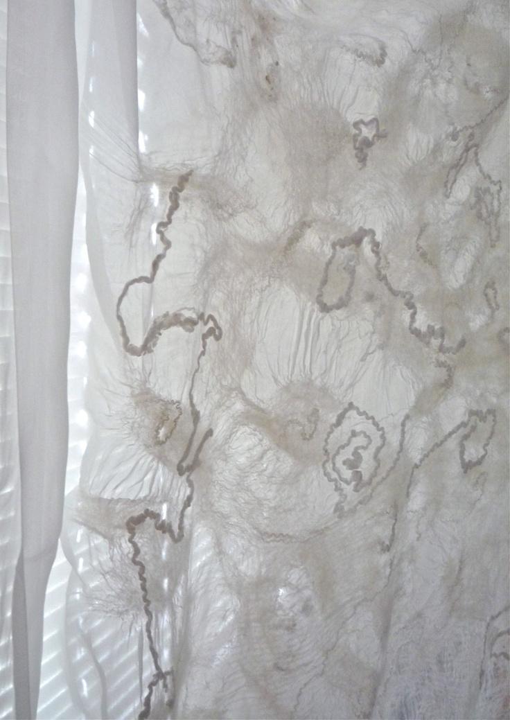 Bridal scarf, shawl, white, silk and wool, finely felted. wedding accessories, clothing, white nuno felted shawl. $180.00, via Etsy.
