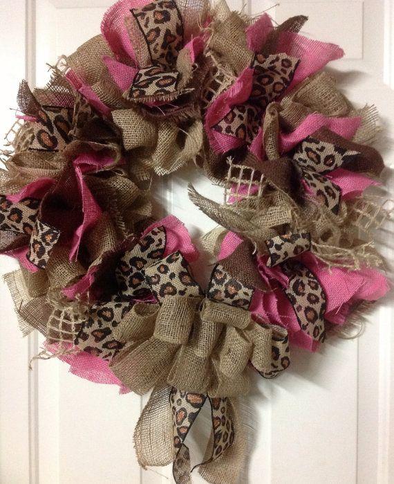 Pink Brown and Leopard Burlap Wreath by Katskraftymeow on Etsy