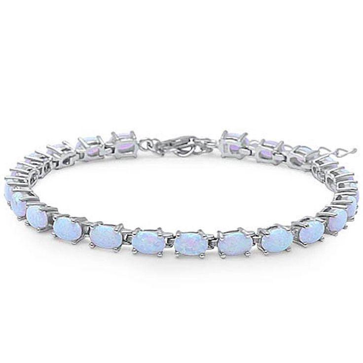 """Tennis Bracelet Oval Shape White Opal Bracelet Solid 925 Sterling Silver 9"""" Lab Oval White Opal Oval Cut Full Eternity Bracelet Gift"""