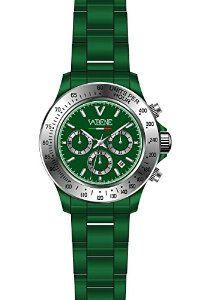 Product Description Case size: 40mm diameter Swiss made quartz battery movement Gold round dial with indices Green plastic polycarbonate case Green acrylic bracelet with locking clasp Fixed black stainless steel bezel Date calendar function Mineral glass crystal Water resistant to 50m