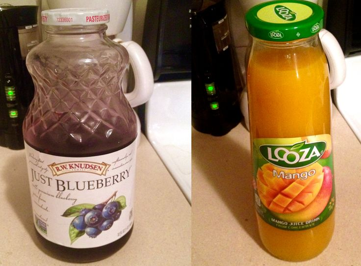 water, mango puree concentrate, and sugar; ingredients for blueberry ...