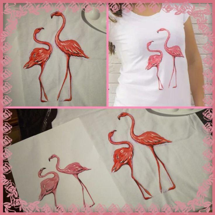 Фламинго. Рисунок на футболке.