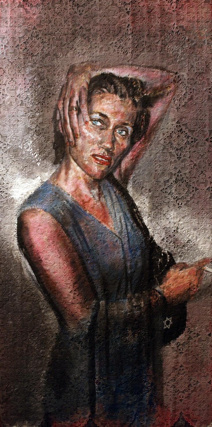 ritratto di Martina  . olio e acrilico su tessuto intarsiato - di Francesco Santosuosso