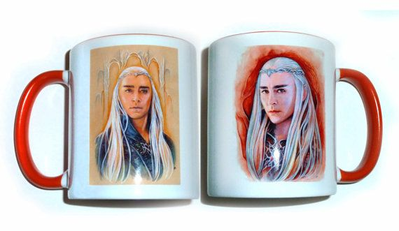 Mug  King of Mirkwood orange and white mug hobbit by JankaLart
