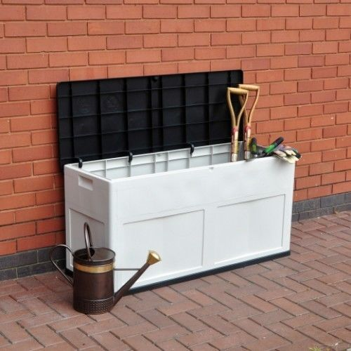 Garden Storage Box Large White Black Waterproof Outdoor Patio Chest Plastic Lid #Essentials