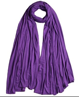 Royal Purple Cotton Jersey Maxi Hijab stretch scarf *Solid* 180*80 cm