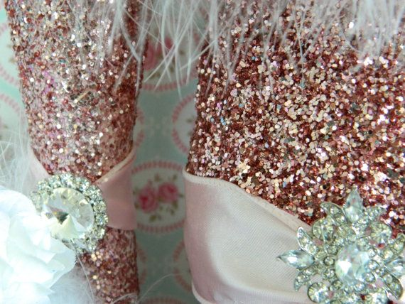 use this idea on vases and candle holders for party mod podge glitter on them wrap ribbon and bling