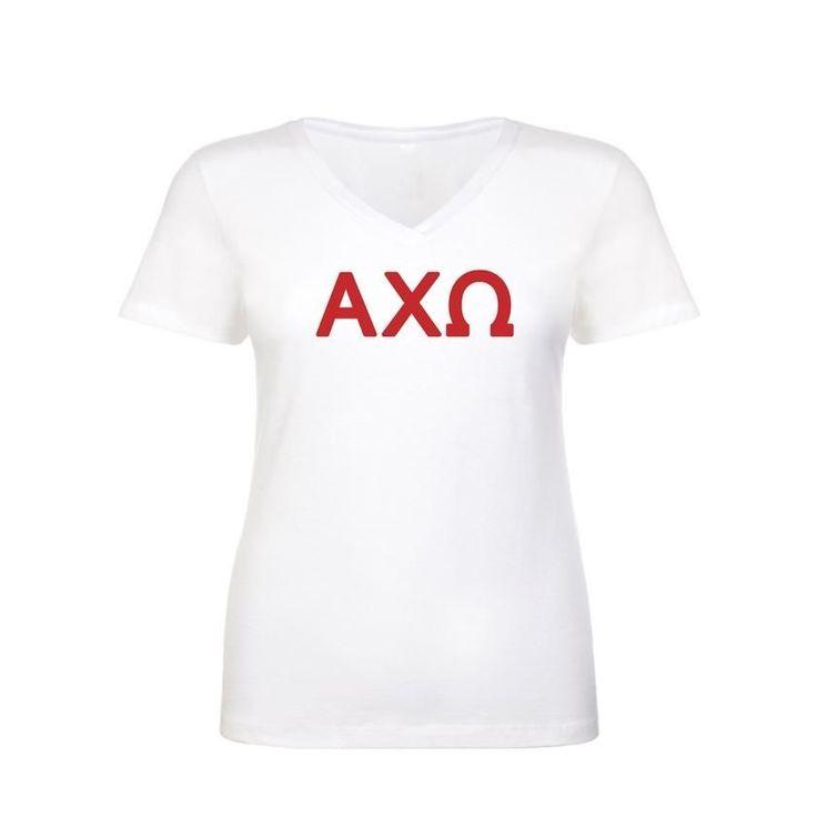 Have you seen? Alpha Chi Omega S... Shop http://manddsororitygifts.com/products/alpha-chi-omega-shirt-v-neck-greek-letters-custom?utm_campaign=social_autopilot&utm_source=pin&utm_medium=pin