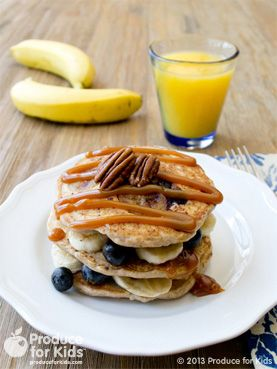 Easy to make and delicious, these pancakes are the perfect way to add fruit to breakfast and sneak in those nutrients to get the family going on a hectic day.