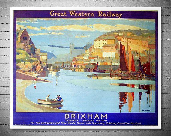 Brixham Torbay Sunny Devon Travel Poster Poster Paper by WallArty