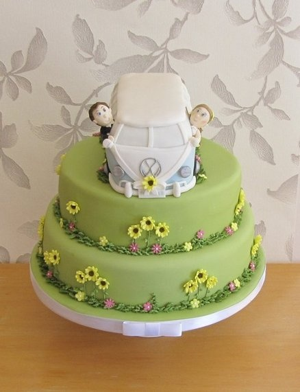 VW campervan wedding cake - by CAKECUCINA @ CakesDecor.com - cake decorating website